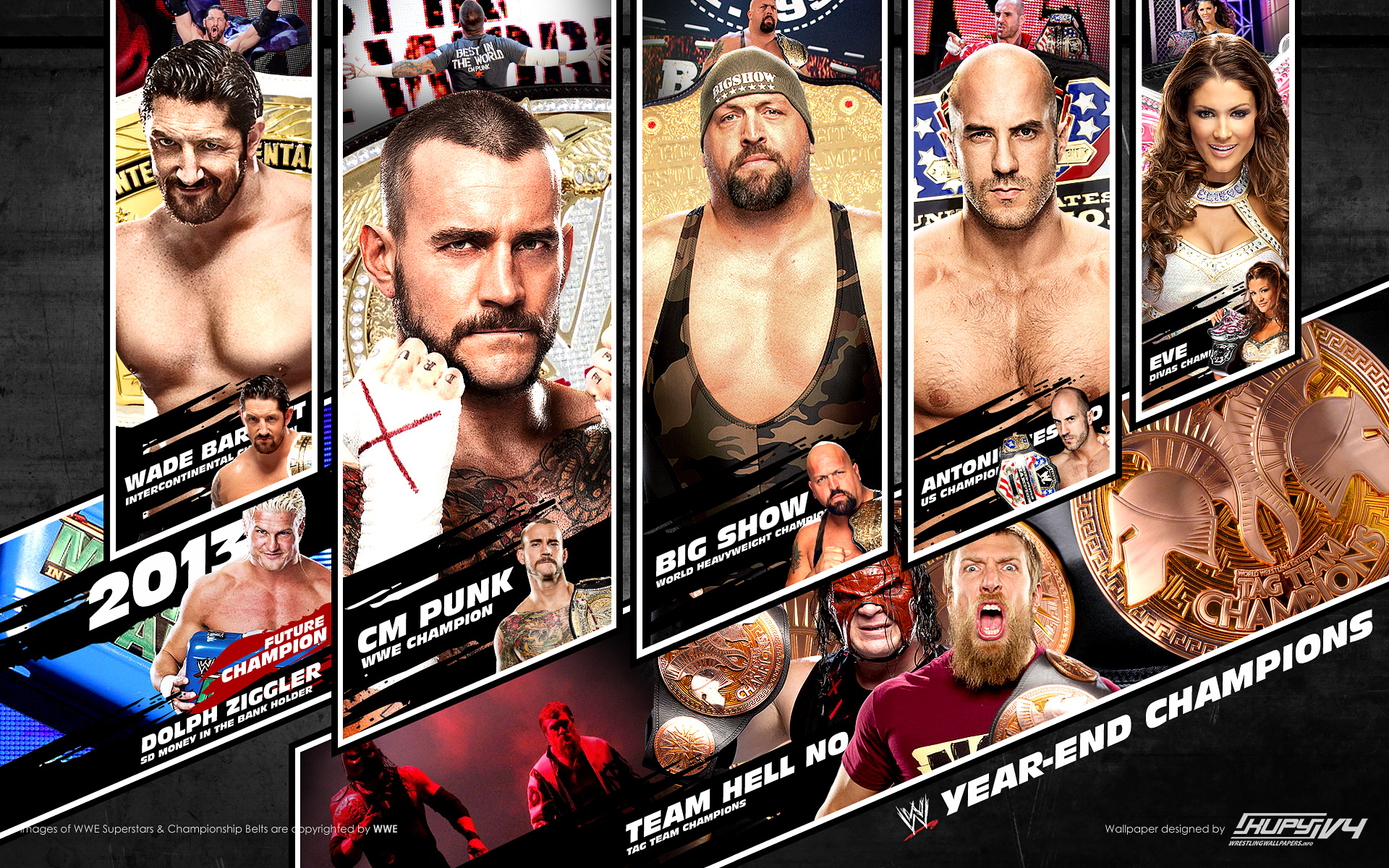 2012 year ender champions of wwe wallpaper 19201200
