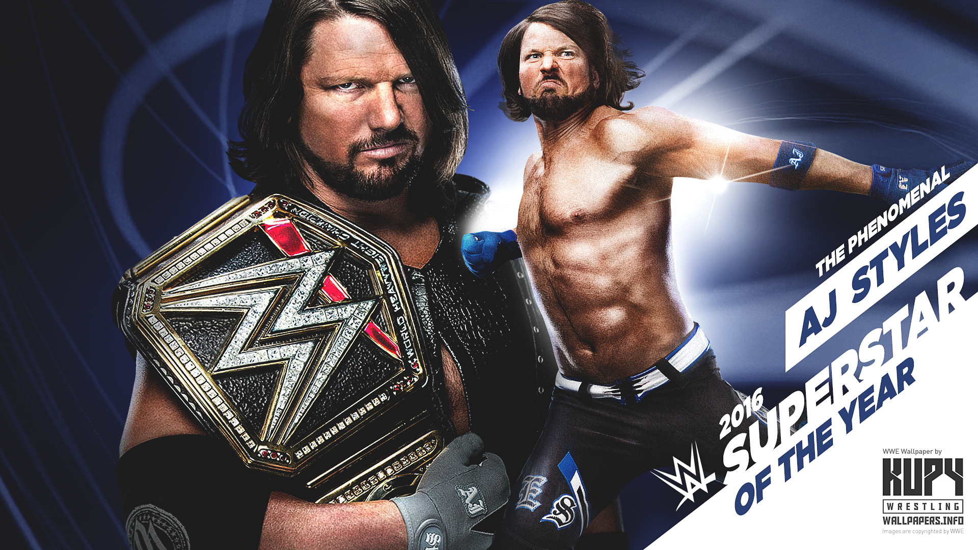 New Aj Styles 2016 Wwe Superstar Of The Year Wallpaper Kupy