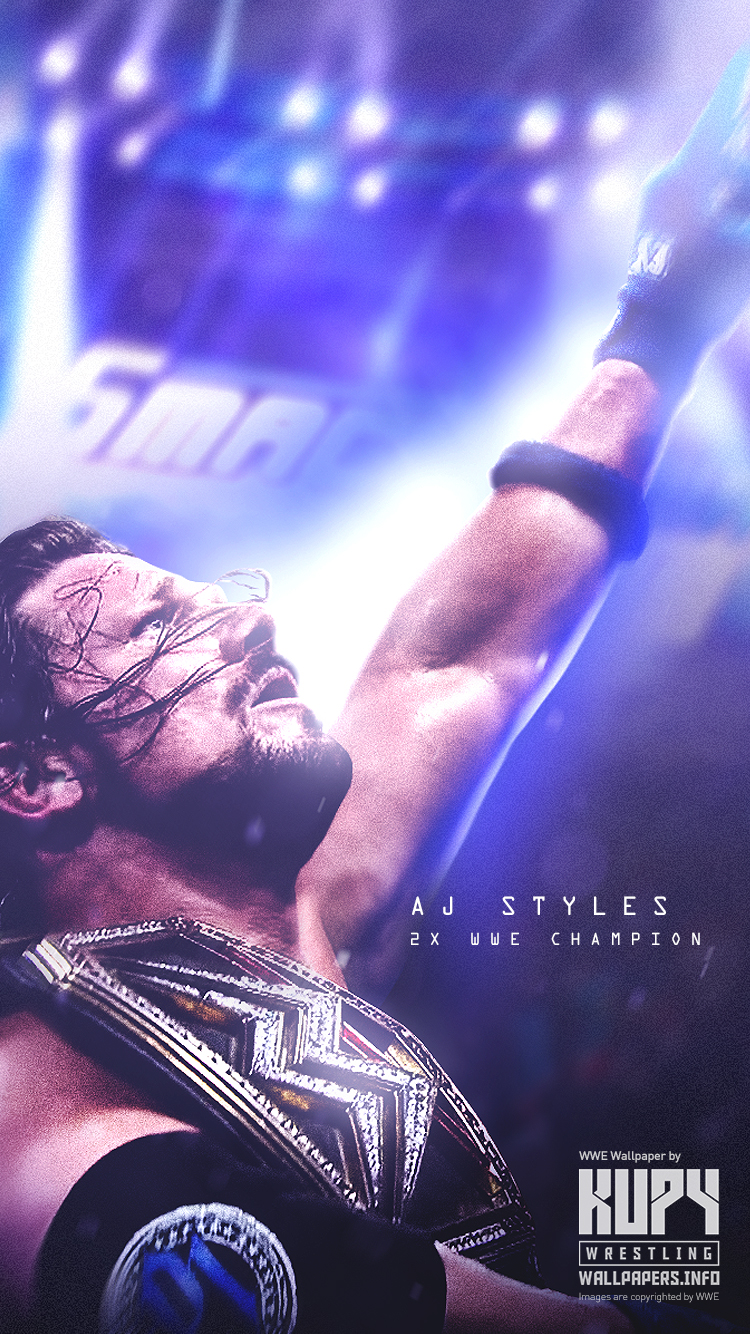 New Aj Styles 2x Wwe Champion Wallpaper Kupy Wrestling Wallpapers