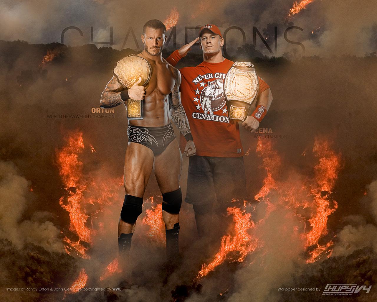 Randy Orton and John Cena as Champions wallpaper