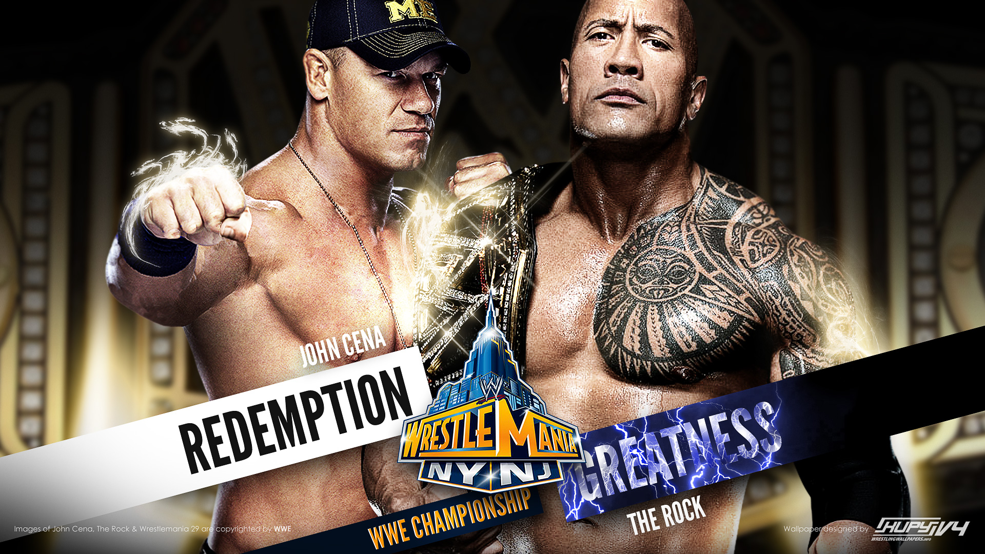 new wrestlemania 29 wallpaper: the rock vs. john cena ii - kupy