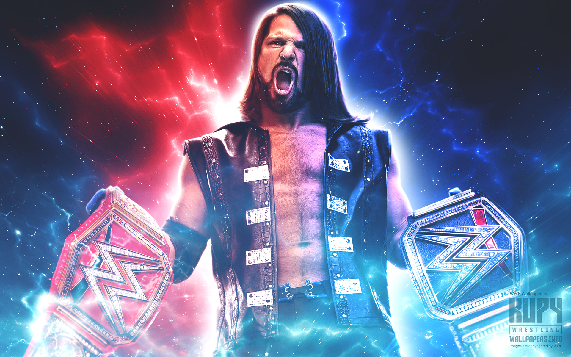 (WHAT IF) AJ Styles WWE Champion AND Universal Champion wallpaper!